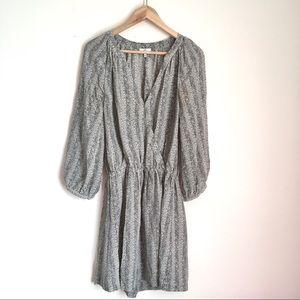 Joie Molly 100% silk stripe print surplice dress M